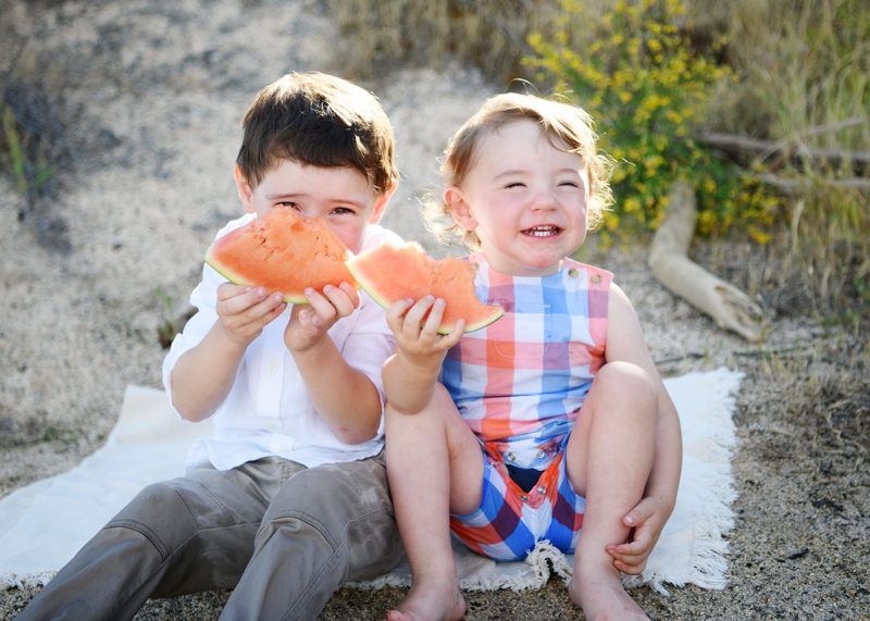 Brothers eating watermelon and smiling on the sandy beach in Folsom Lake State Recreation Area