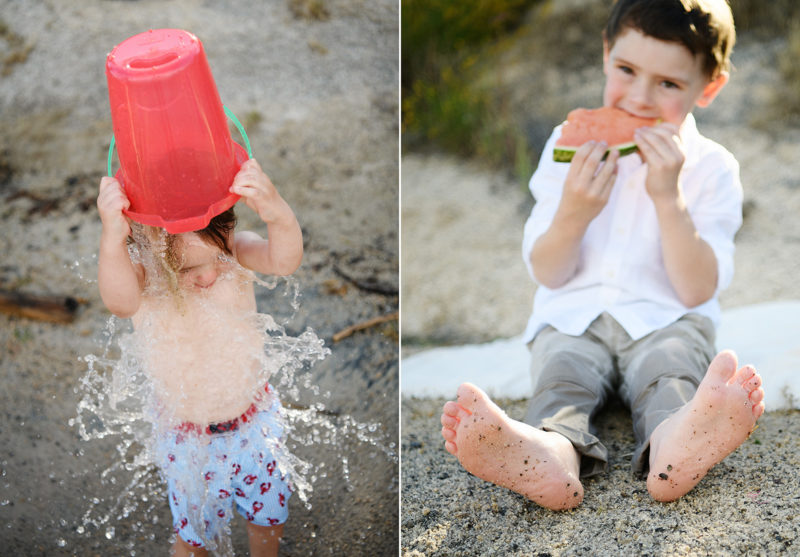 Boys pouring water on self and eating watermelon on sand in Folsom Lake State Recreation Area