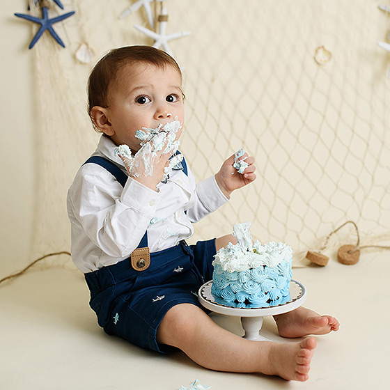 Baby boy cake smash with nautical background