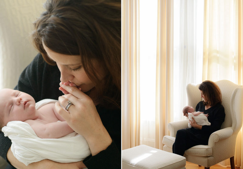 Newborn session at home in San Francisco with mom and baby girl