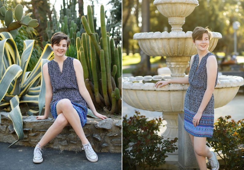 High school senior posing for portraits at State Capitol cactus garden and fountain