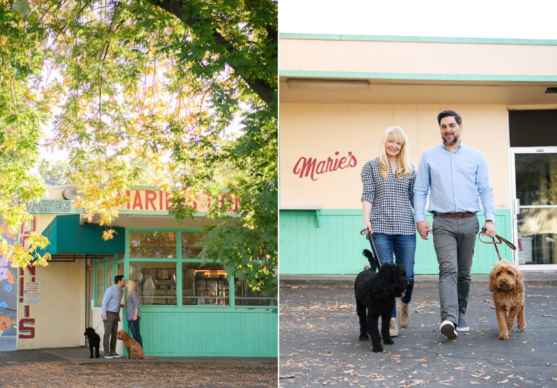 Couple kissing holding two dogs and kissing in front of Marie's Donuts in Sacramento