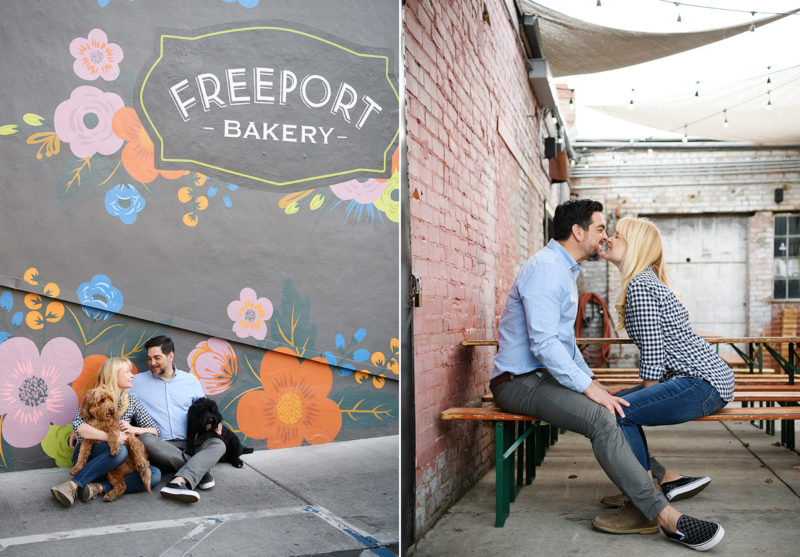 Engaged couple kissing and sitting down outside of Freeport Bakery in Sacramento