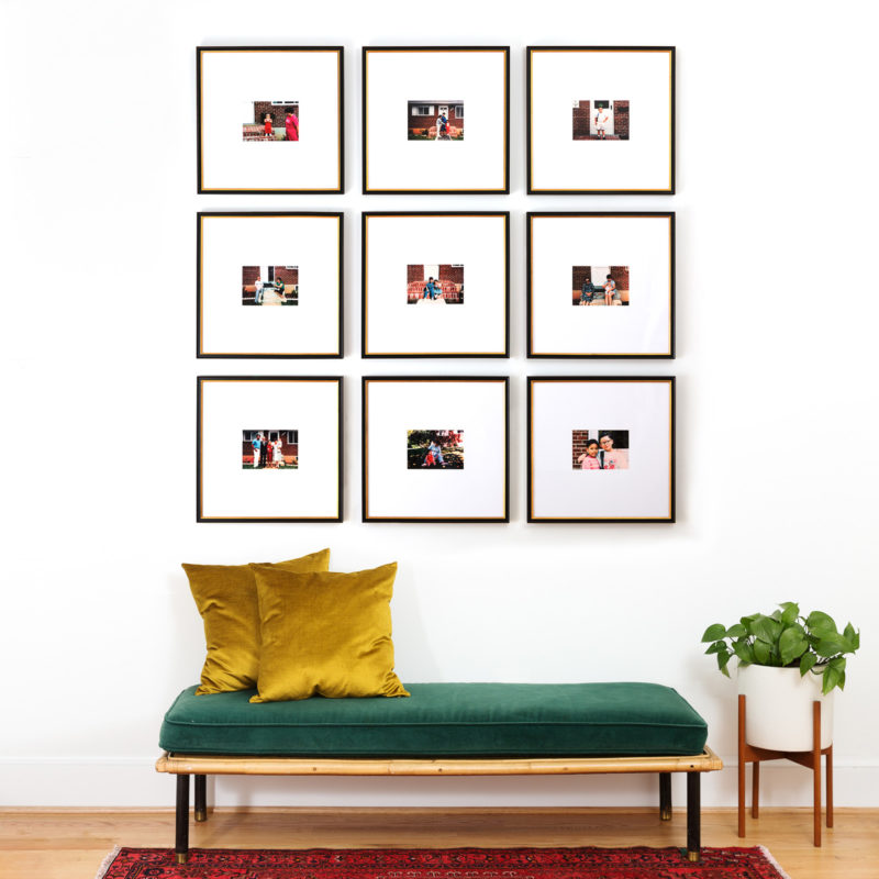 frame your pictures in nine square frames for a beautiful wall display
