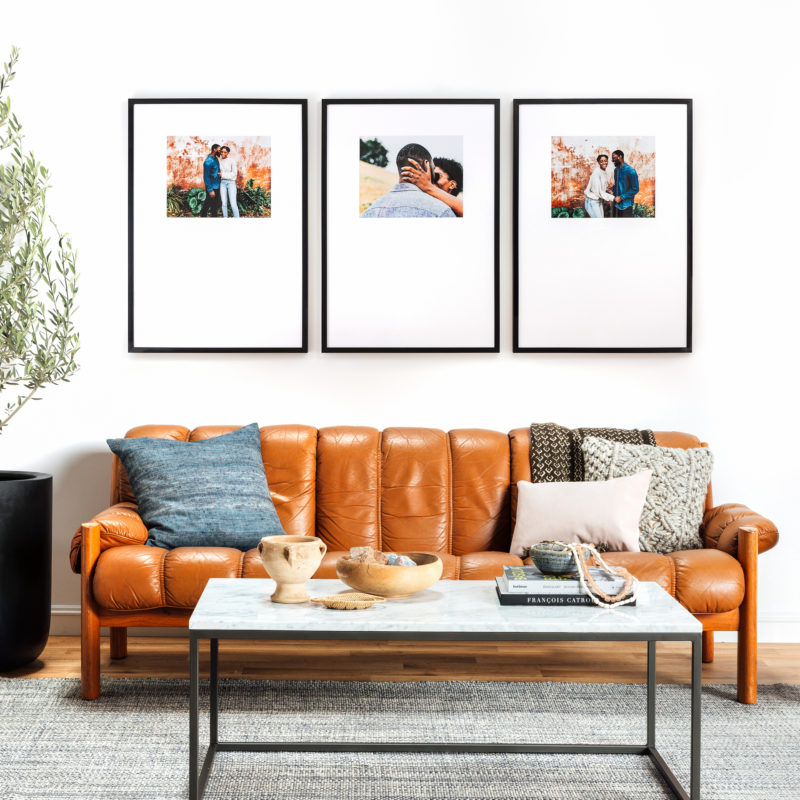 a beautiful display with three large frames for your living room