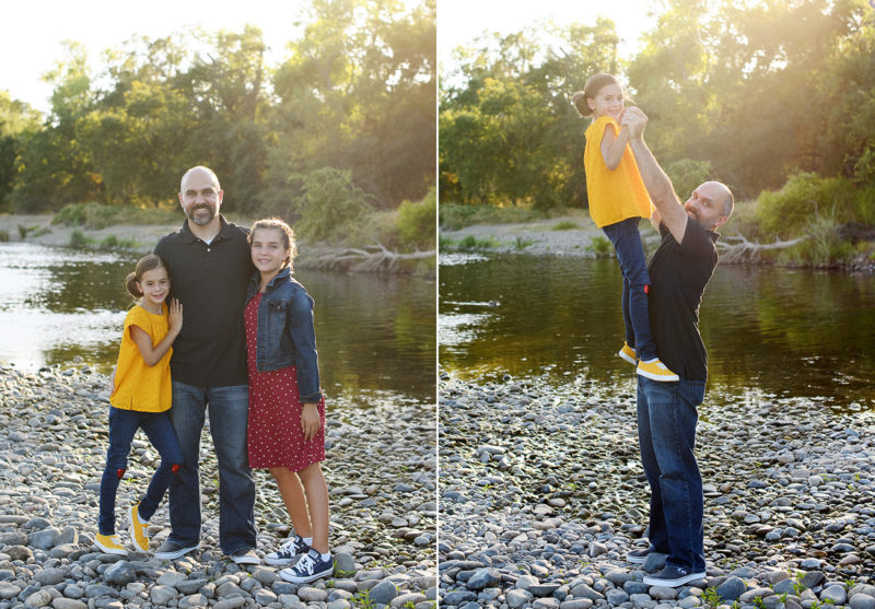 Dad lifting up his daughter in natural light by the river in Fair Oaks