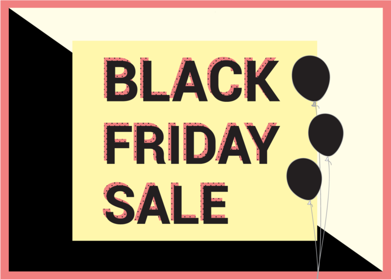 Black Friday Sale Graphic with black balloons