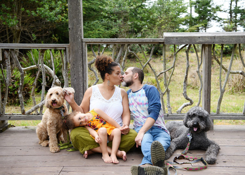Mendocino Coast Botanical gardens family photography portraits on the deck with the dogs