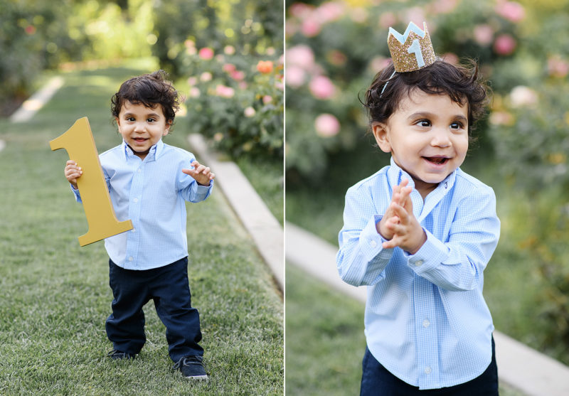 Baby boy holding on to number 1 and wearing a crown to celebrate one year birthday at McKinley Park Sacramento
