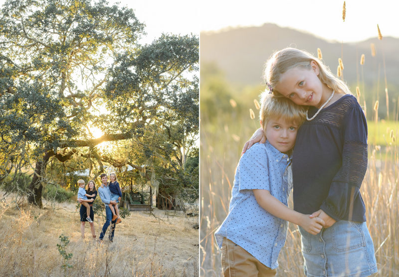 Brother and sister hugging during sunset in tall yellow grass and family posing in front of large trees in Quarryhill Botanical Garden