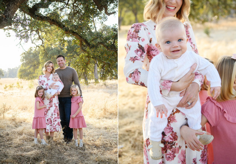 Family smiling under tree on dry grass and close up of baby boy smiling in Folsom