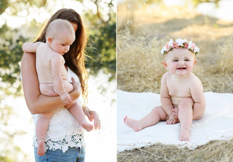 Baby girl naked as mom holds her and wearing a flower crown on blanket in Folsom