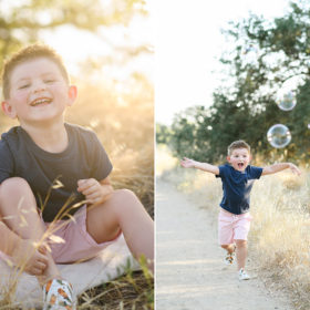 Little boy smiling during sunset and chasing bubbles in Folsom