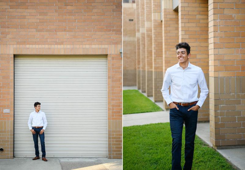 Senior boy standing in front of brick and garage exterior in El Dorado Hills