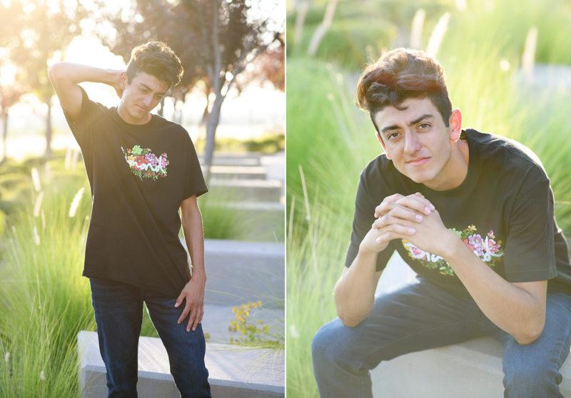 Senior boy wearing casual look with jeans in natural light in El Dorado Hills