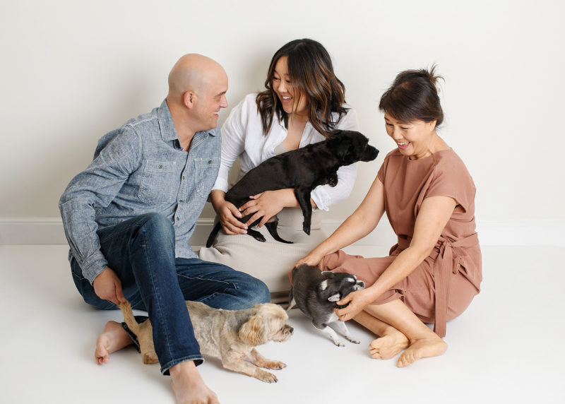 Husband, pregnant wife and mom all playing with their dogs while sitting in Sacramento studio