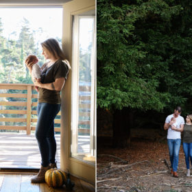 Mom holding newborn baby against sunlight by window and mom and dad walking outside by tall trees