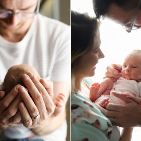 Dad holding newborn baby's head and mom and dad holding newborn baby against natural light window