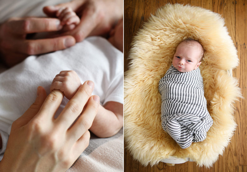 Close up of mom and dad holding onto baby's tiny hands and close up of newborn baby in swaddle on sheepskin rug