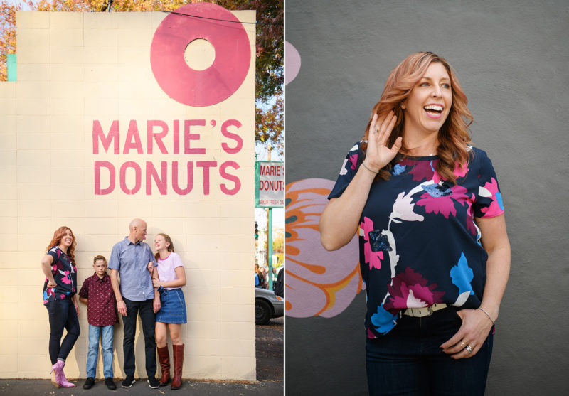 Family hugging and smiling in front of Marie's Donuts sign. Mom playfully laughs in front of Freeport Bakery storefront mural in Sacramento