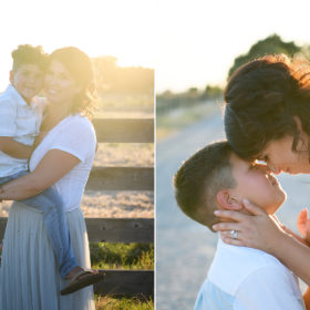 Mom hugging and kissing sons during sunset in Sacramento