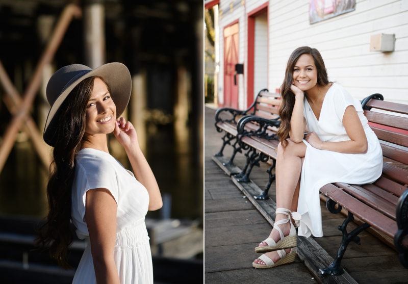High school senior wearing a hat and smiling in old town Sacramento