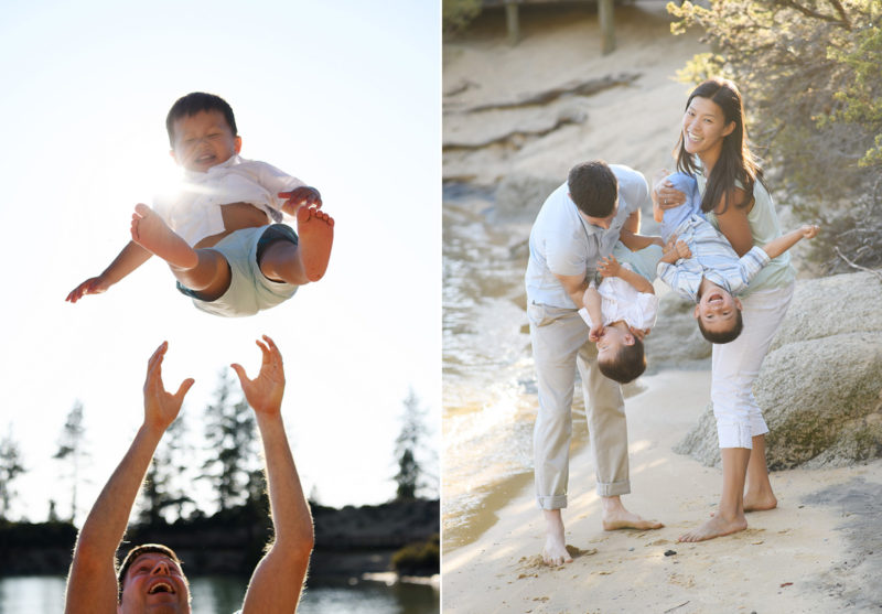 Dad throwing son in the air and parents holding children upside down as they laugh at Lake Tahoe