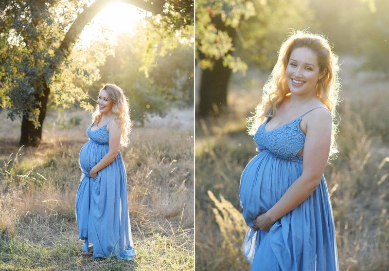 Pregnant woman wearing blue dress in natural light under an oak tree in Davis
