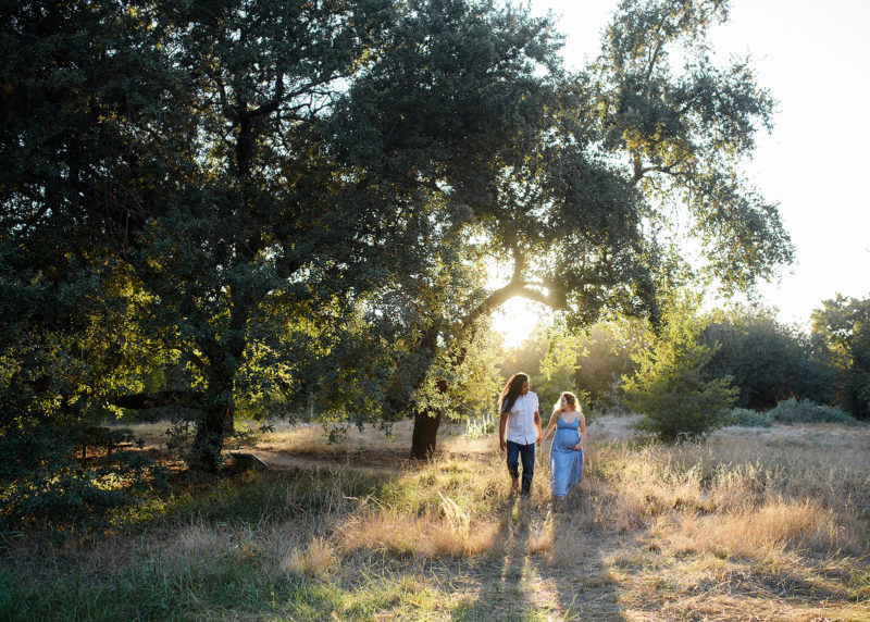 Pregnant woman and dad holding hands and walking underneath tall oak tree