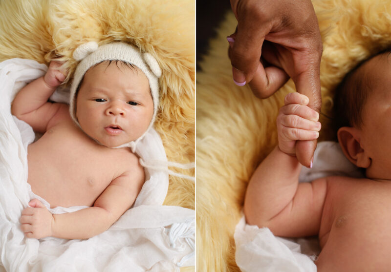 Newborn baby wearing crochet bear hat and close up of baby holding mom's finger