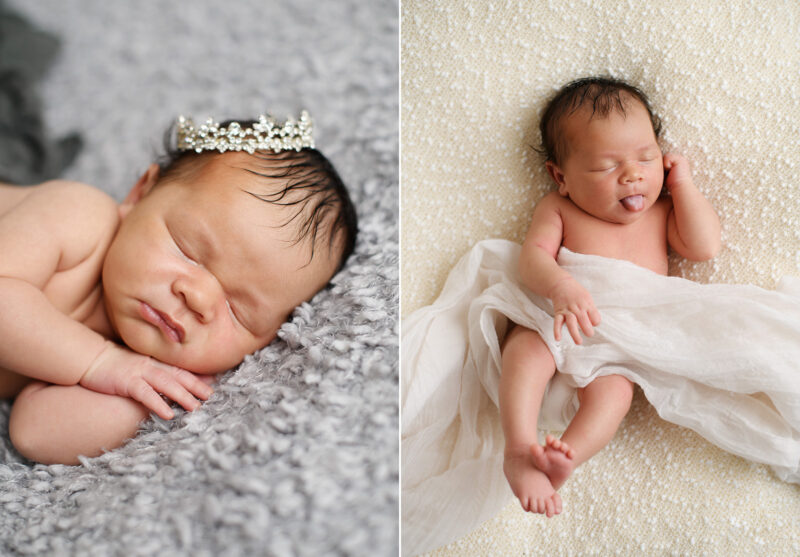 Newborn baby girl wearing a crown and sticking her tongue out while sleeping in Sacramento studio