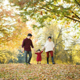 Mom and dad holding toddler girl's hand as they walk through fall leaves in Sacramento Rancho Cordova