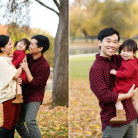 Mom and dad holding toddler girl wearing sweaters with fallen leaves on ground in Sacramento Rancho Cordova