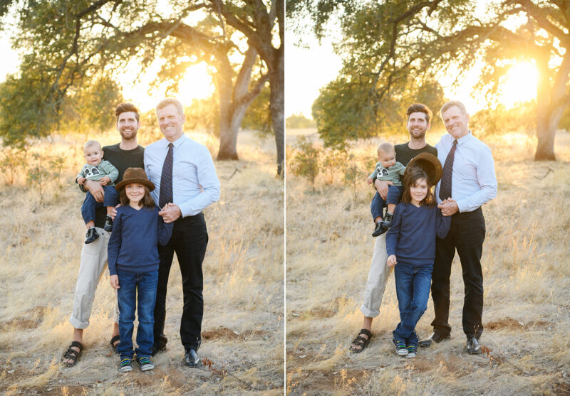 All the men in the family pose for a picture in front of a large tree in Folsom