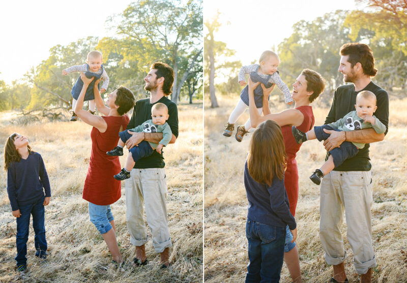 Mom holding baby high in the air as big brother and dad smile in Folsom