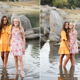 Sisters dipping their feet in Folsom Lake ripples