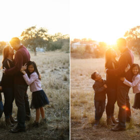 Mom and dad hug while son and daughter hug them in Davis