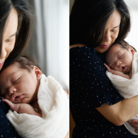 Mom gently holding newborn baby boy as he sleeps in Sacramento studio