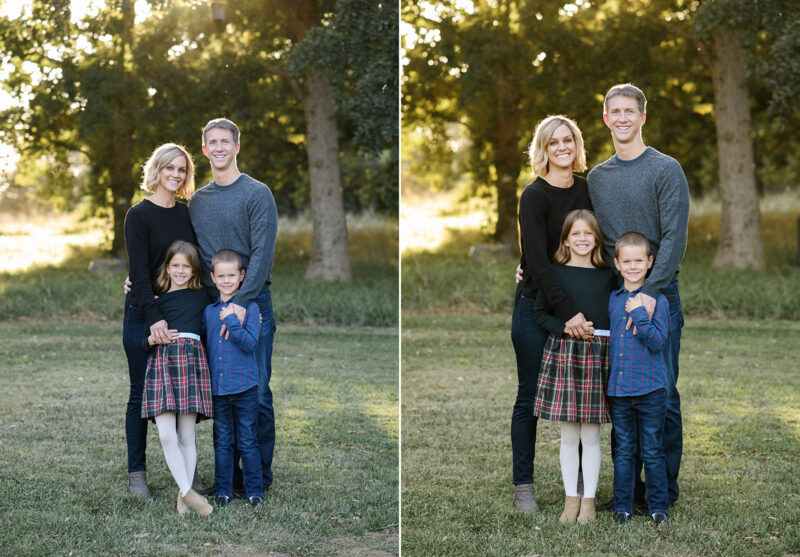 Fall family photo during sunset in park with trees in background in Sacramento