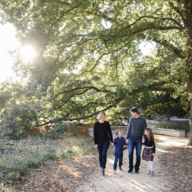 Family holding hands and walking under large trees in Sacramento park