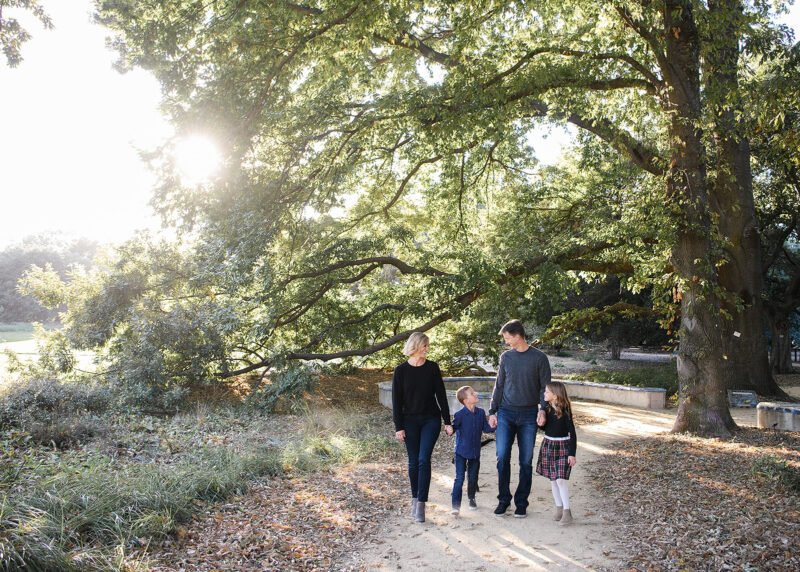 Family holding hands and walking under large trees in Davis park