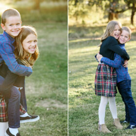 Brother and sister hugging and doing a piggyback ride in Sacramento park
