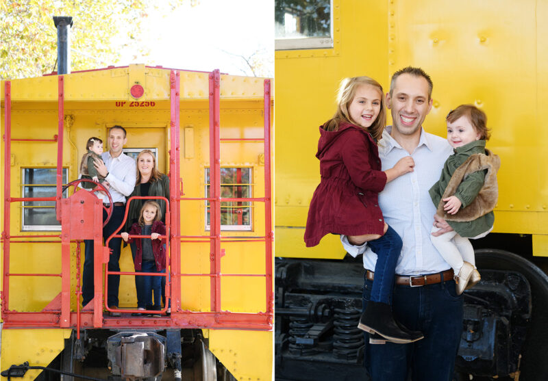 Family hops aboard yellow train in Old Sacramento