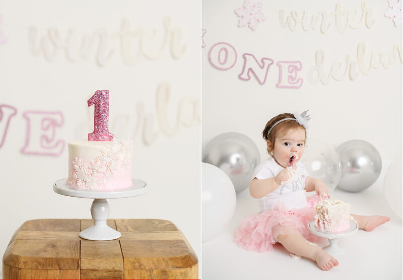 Detail shot of pink cake for first birthday and baby girl eating it for cake smash photos in Sacramento studio