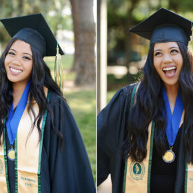 Close up portrait of college senior graduate posing with cap and gown at Sacramento State
