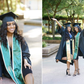 Sacramento State college graduate girl sitting while wearing cap and gown