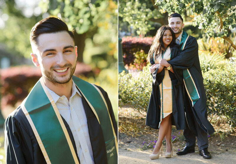 Sacramento State college grad boy wearing gown and stole hugging girlfriend