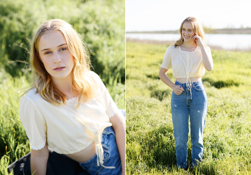 Teen girl sitting on green grass smiling win sun in her hair Sacramento