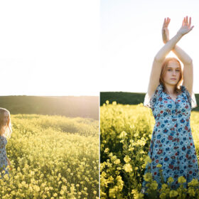 Teen girl wearing floral dress in the middle of yellow wildflower field