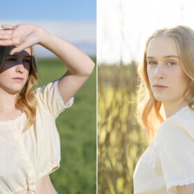 Teen girl covers face from sun in her eyes with sun behind her hair outside in Sacramento